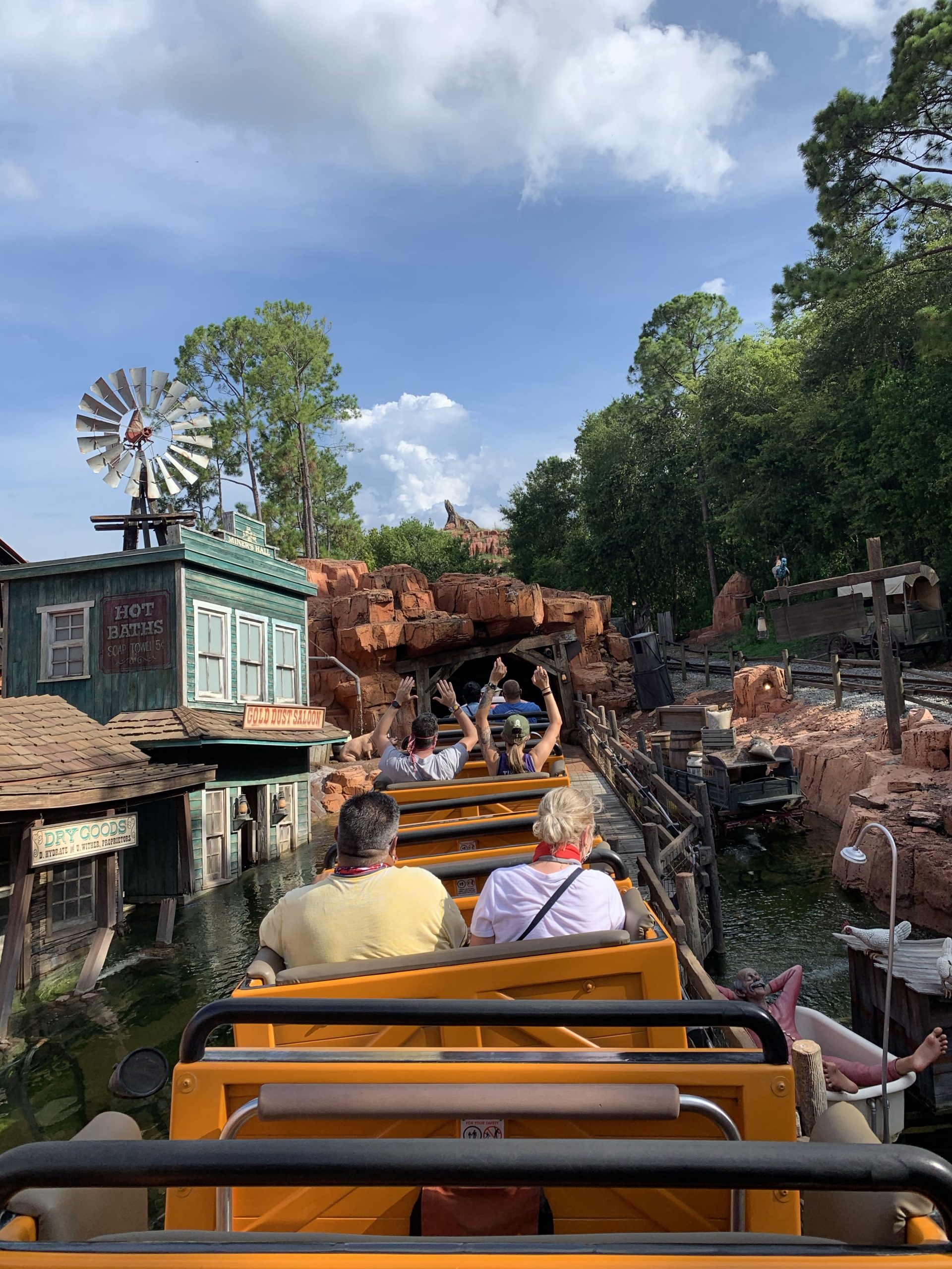 Riders ride in every other train on Big Thunder Mountain Railroad at Walt Disney World