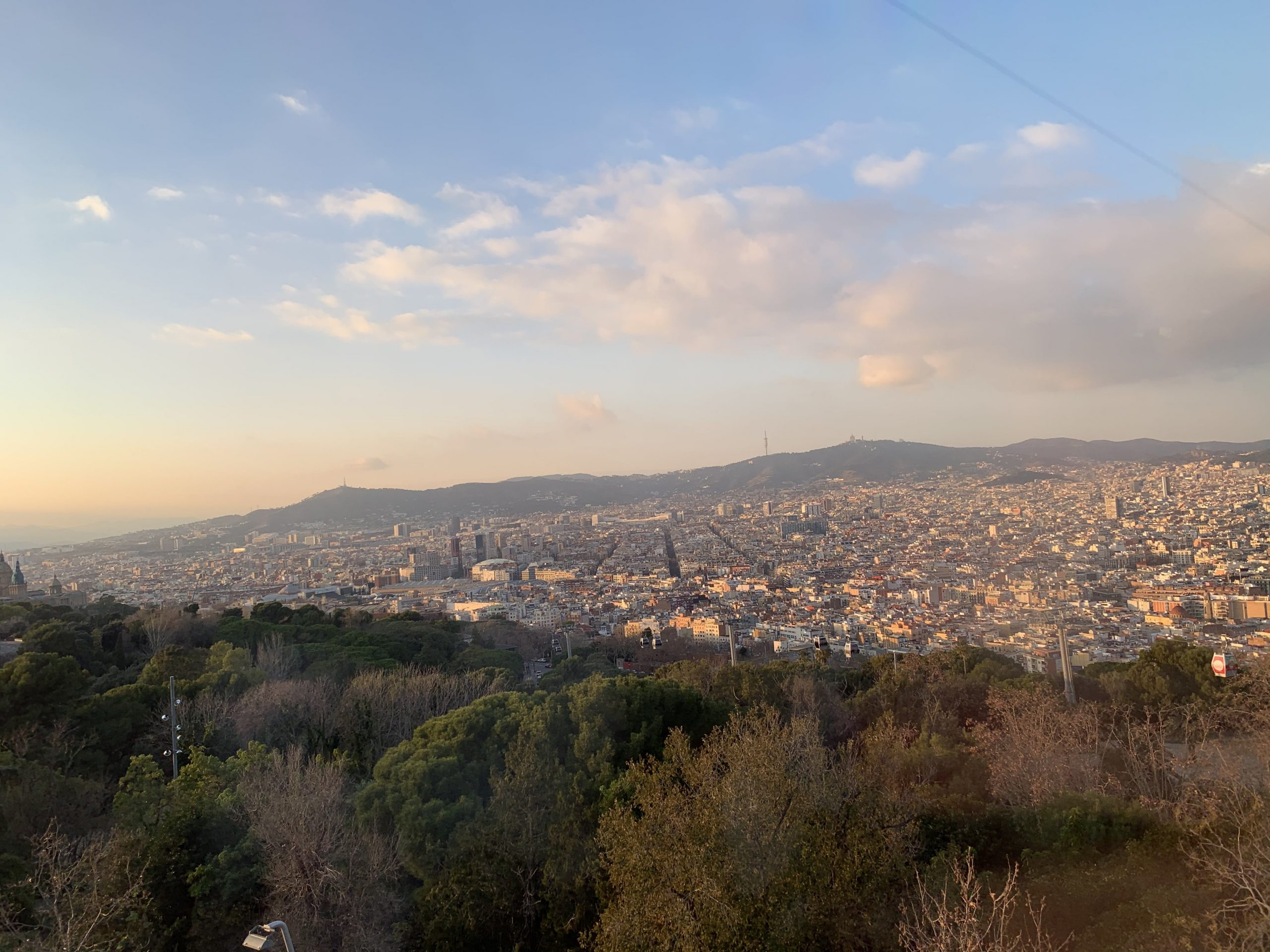 Panoramic view of Barcelona from the top of a mountain