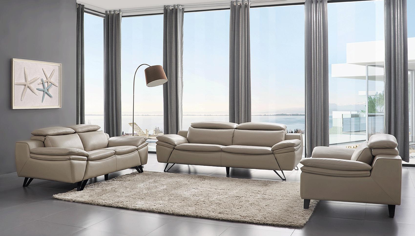Grey Leather Contemporary Living Room Set Cleveland Ohio