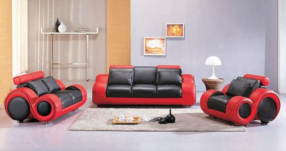 Contemporary Black And Red Leather Sofa Set Atlanta
