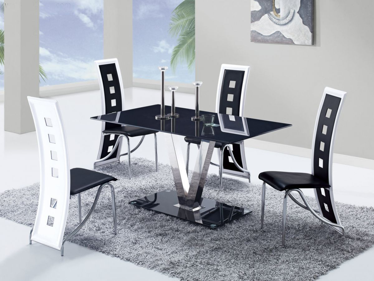Fixed Black Glass Top Leather Dinette Tables And Chairs