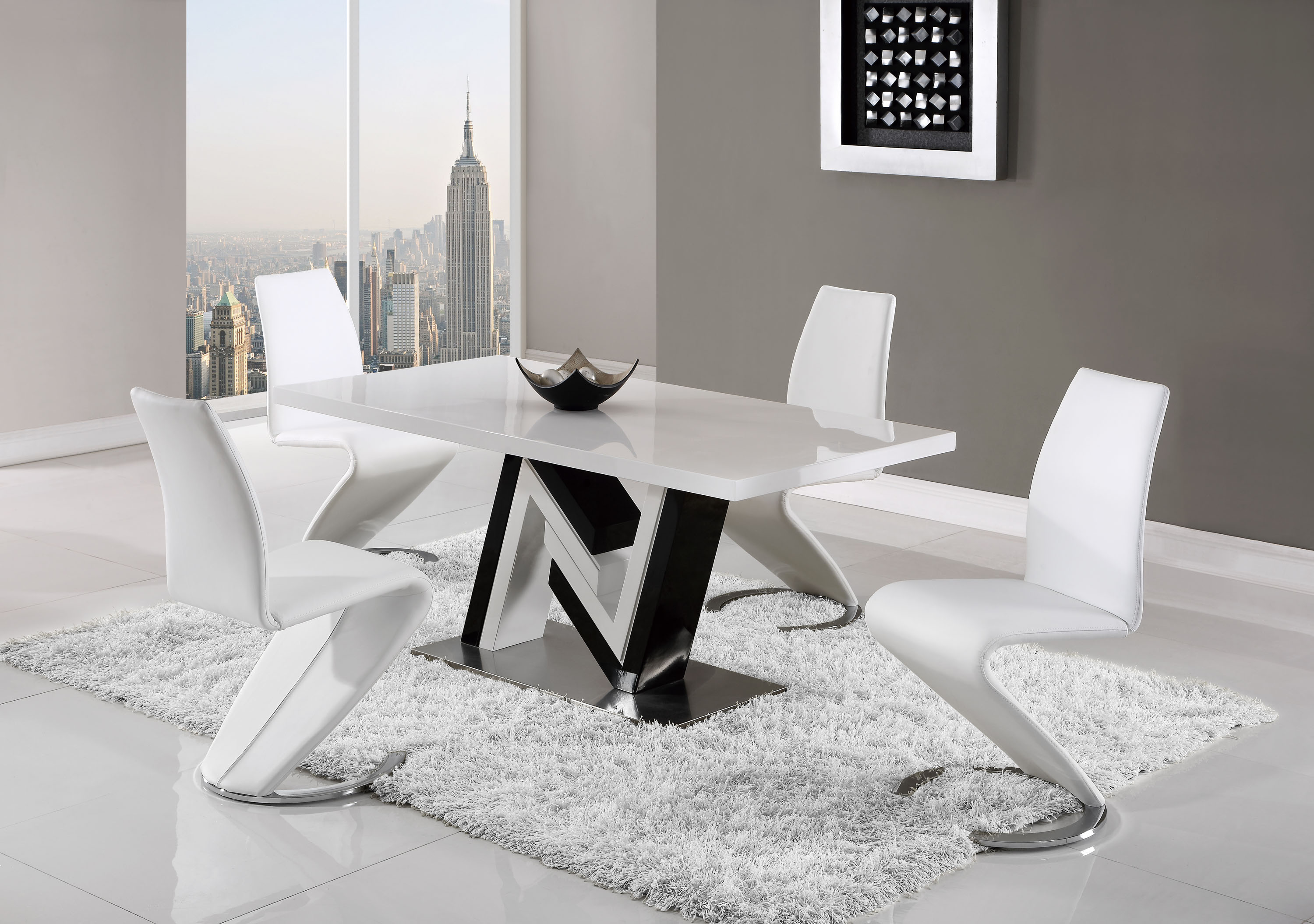 Unique Black And White Table With Curved White Leather