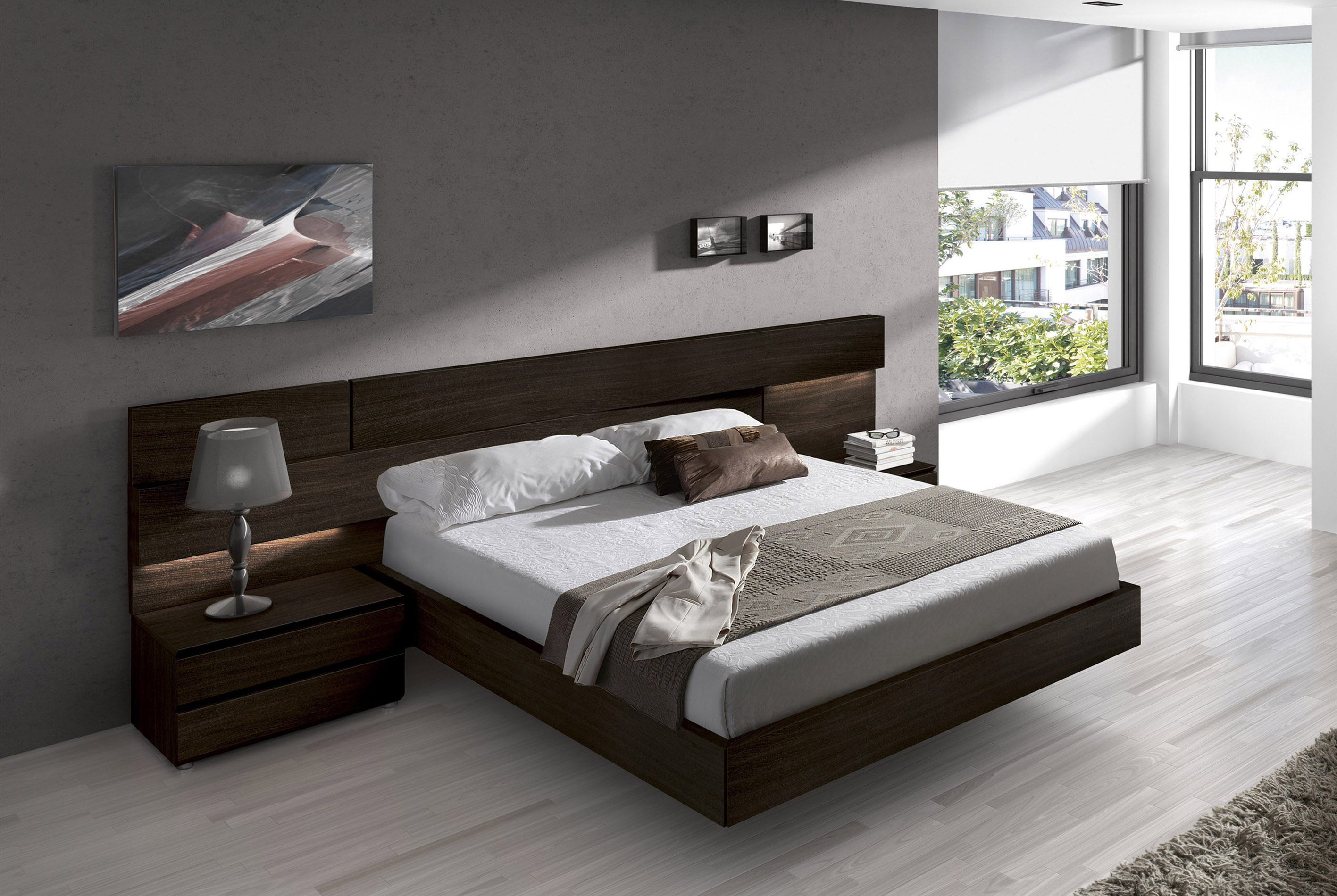 Made In Spain Wood High End Platform Bed With Extra