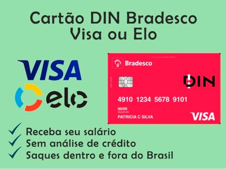 Cartão Pré-pago VISA e Elo DIN Bradesco