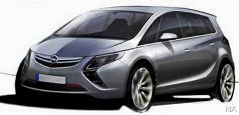 Opel revela esboço do novo Zafira