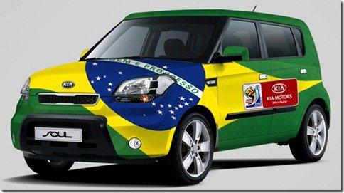 Kia Soul se fantasia para a Copa do Mundo