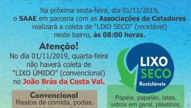 Photo of SAAE realizará Coleta Seletiva no Bairro João Brás nesta sexta-feira
