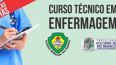 Photo of Estão abertas inscrições para curso gratuito de técnico em Enfermagem em Visconde do Rio Branco