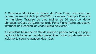 Photo of Prefeitura de Porto Firme comunica mais um óbito por Covid-19