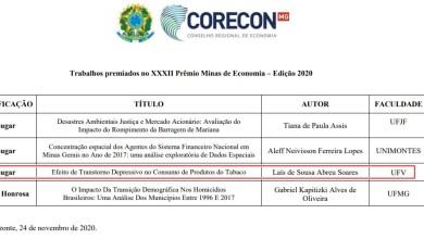 Foto de Monografia de estudante da UFV conquista Prêmio Minas de Economia