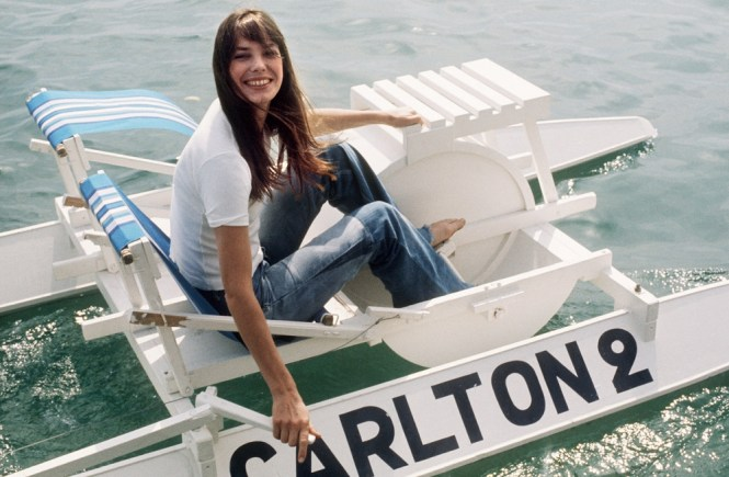 Jane Birkin wearing jeans