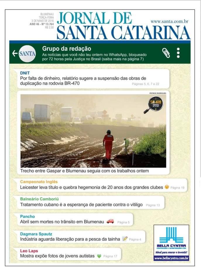 Capa Jornal de Santa Catarina _ Santa _ WhatsApp