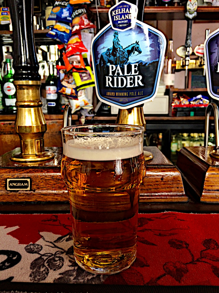 A pint of Pale Rider at the Fat Cat Pub at Kelham Island Brewery