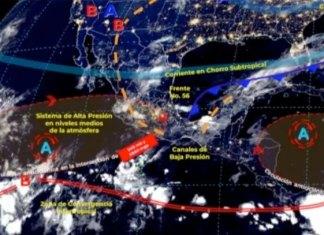 Frente frío provocará lluvias fuertes a puntuales y posibles granizadas
