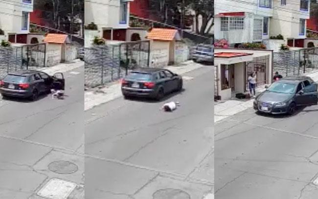 Tipejo aventó del auto a su novia; minutos después regresa por ella (VIDEO)