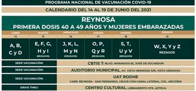 Llega vacunación a Reynosa para adultos de 40 a 49