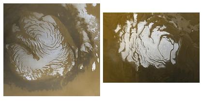 Polo Norte (en 1999) y Polo Sur (2000) de Marte.