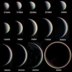 Las fases de Venus. Estos cambios solo pueden observarse a través de un telescopio. Imagen:mStatis Kalyvas - VT-2004 programme, vía Wikimedia Commons