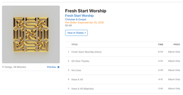 Download Songs: Tracklist Fresh Start Worship Album