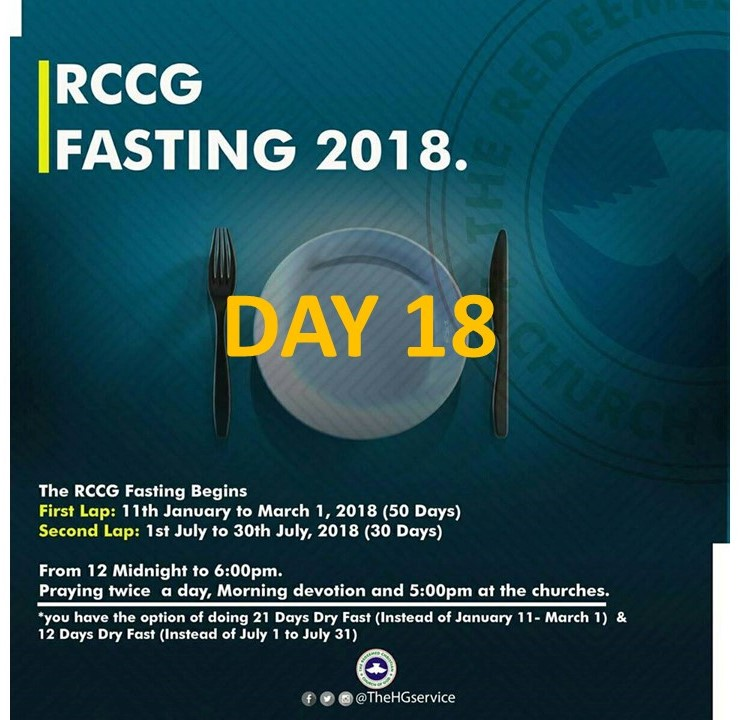 RCCG 2018 fasting and Prayer Points for 2018 Day 18 (28th January)