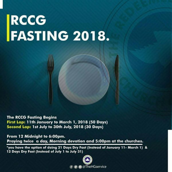 RCCG 2018 Fast: Day 2 Prayer Points