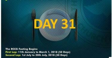 (RCCG) FASTING 2018 DAY 31 PRAYER POINTS