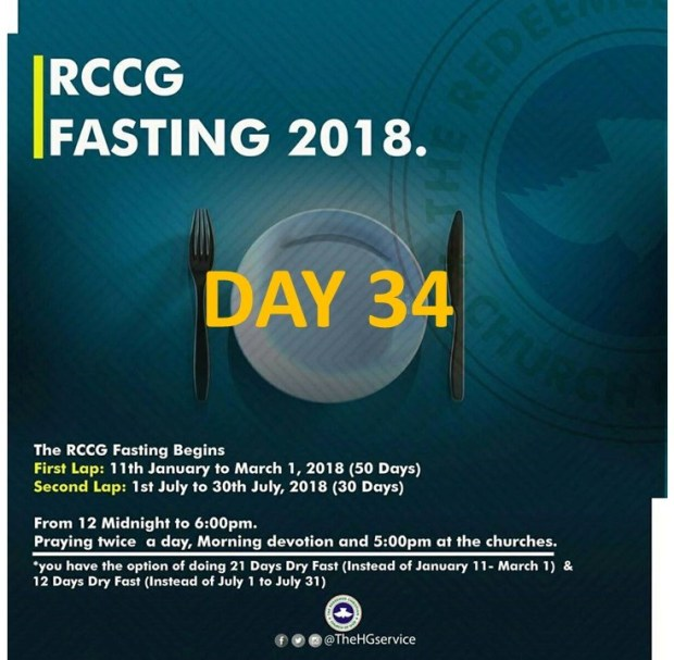 (RCCG) fasting 2018 prayer ponits for day 34