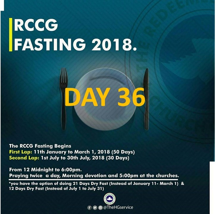 (RCCG) fasting 2018 prayer ponits for day 36