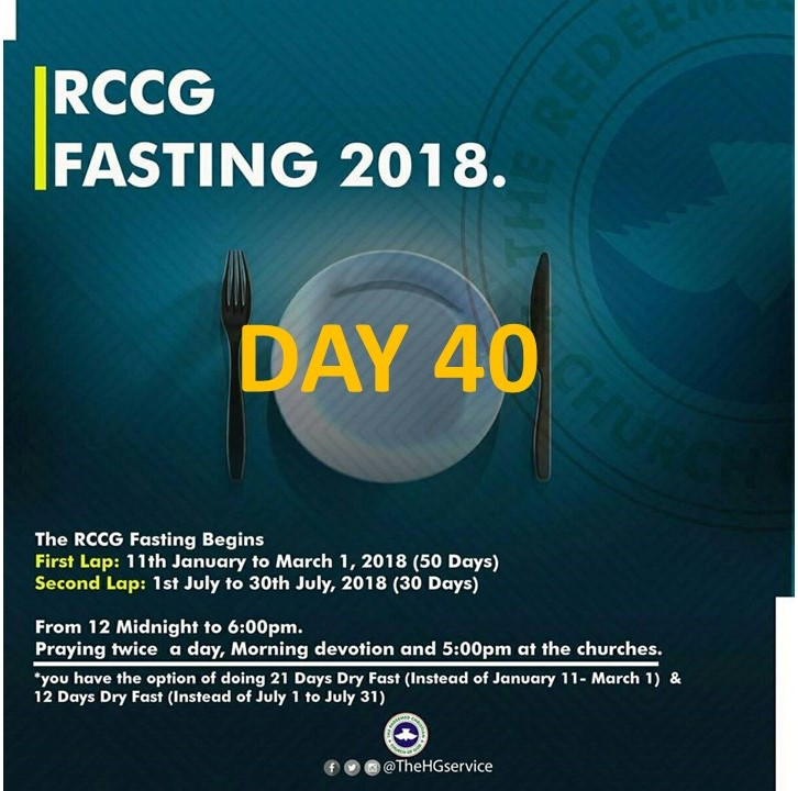 (RCCG) fasting 2018 prayer points for day 40