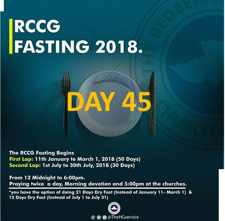 (RCCG) fasting 2018 prayer points for day 45