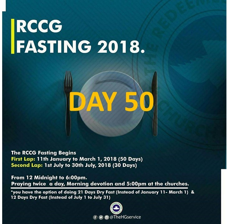 RCCG day 50 fasting and prayer points for 2018
