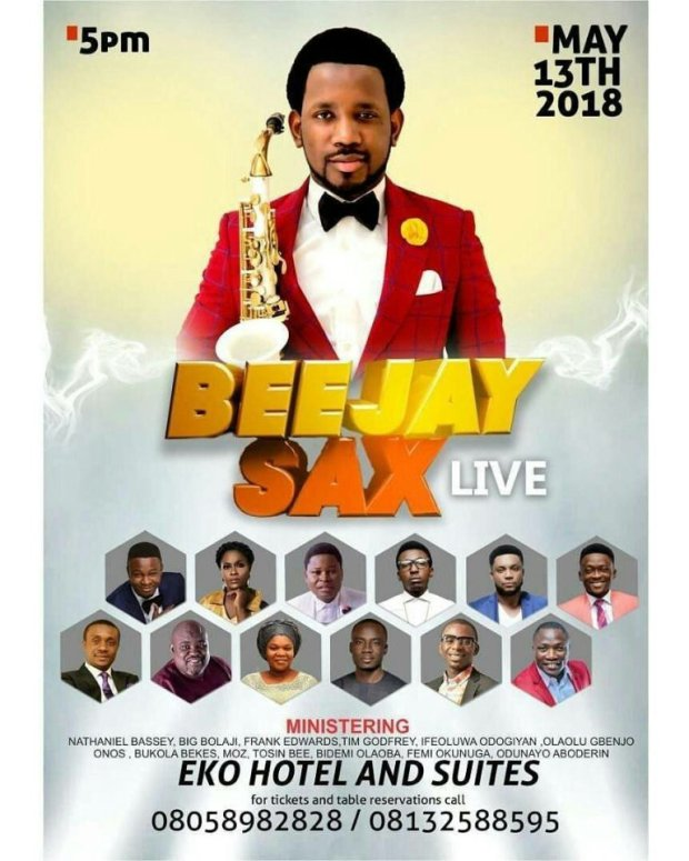 BeejaySax Hit Lagos Live this Month along other powerful gospel singer.