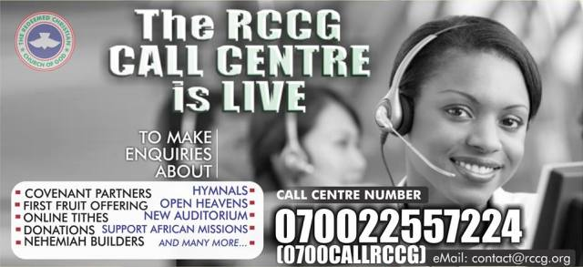 RCCG CALL CENTER NUMBER FOR PRAYERS