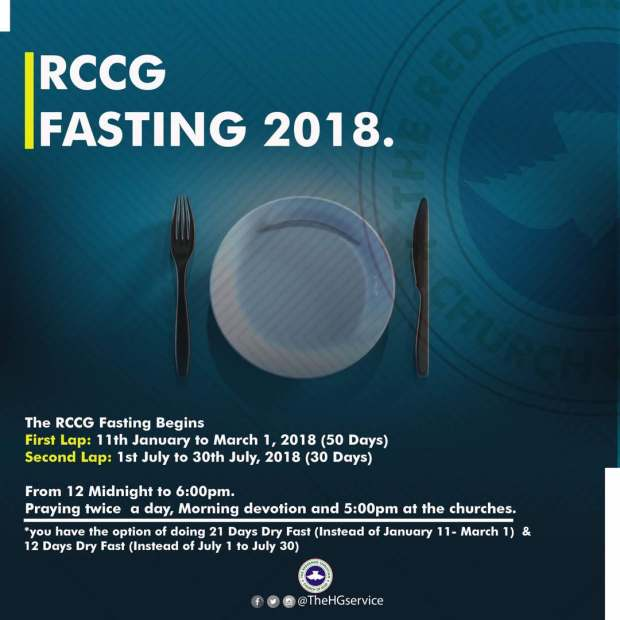 RCCG FASTING AND PRAYER POINTS FOR JULY 2018