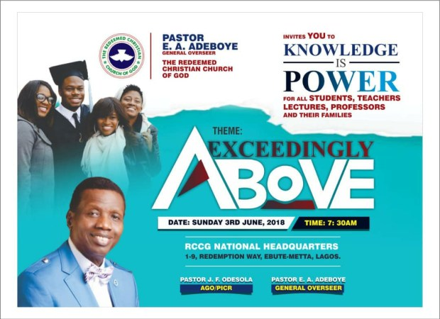 EXCEEDINGLY ABOVE RCCG JUNE 2018 SPECIAL THANKSGIVING SERVICE