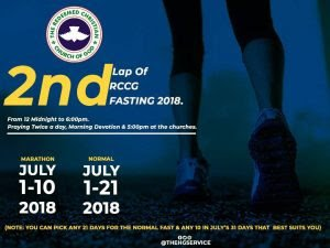 RCCG JULY 2018 FASTING: DAY 2 PRAYER POINTS