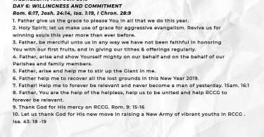 Day 6 ( Wednesday 16th Jan ) RCCG 2019 Fasting Prayer Points