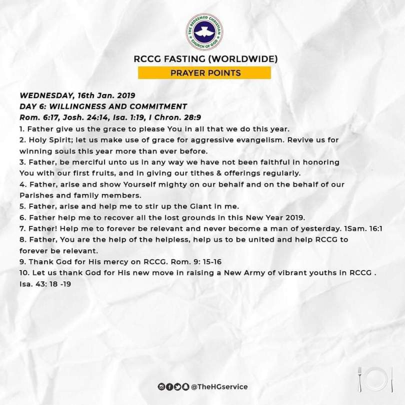 Day 6 ( Wednesday 16th Jan ) RCCG 2019 Fasting Prayer Points