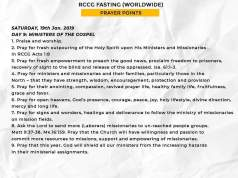 Day 9 Saturday 19th Jan RCCG 2019 Fasting Prayer Points