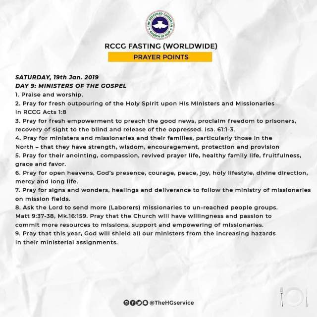 Day 9 Saturday 19th Jan RCCG 2019 Fasting Prayer Points