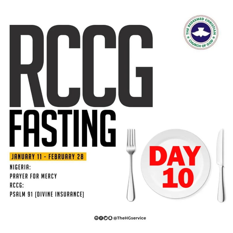 Day 10 (Sunday 20th January ) RCCG 2019 Fasting Prayer Points