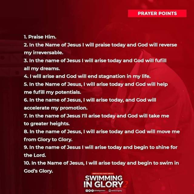 Prayer Points for RCCG February 2019 Holy Ghost Service, Swimming in Glory Part 2