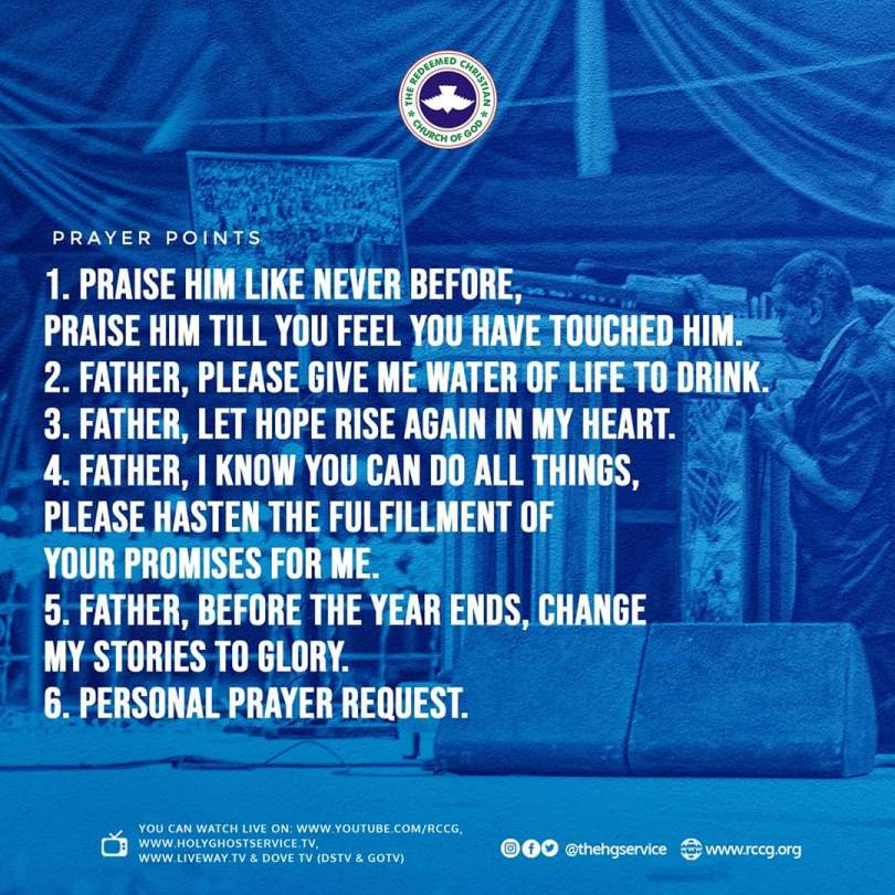 Prayer points from RCCG November 2019 Holy Ghost Service  By Pastor E.A Adeboye