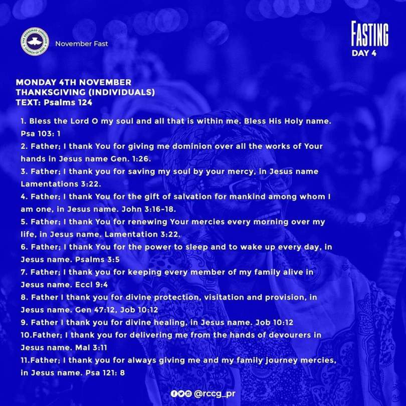 Day 4: RCCG November (Monday, 4th) 2019 Fasting Prayer Points