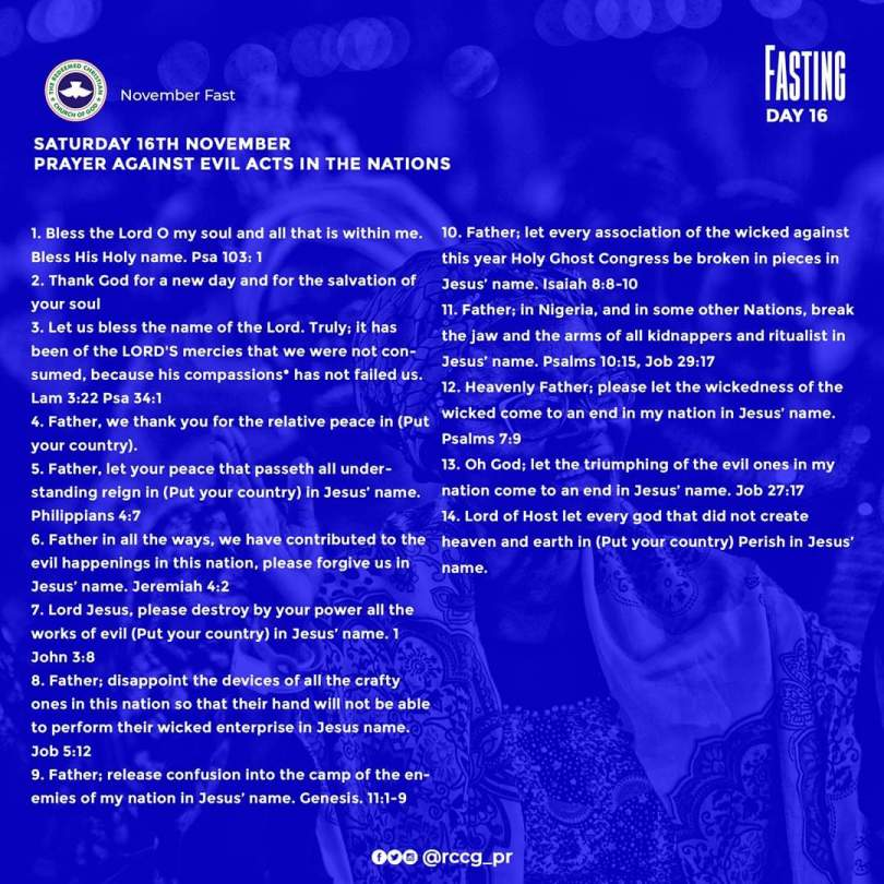 Day 16: RCCG November 2019 Fasting Prayer Points – Saturday, 16th