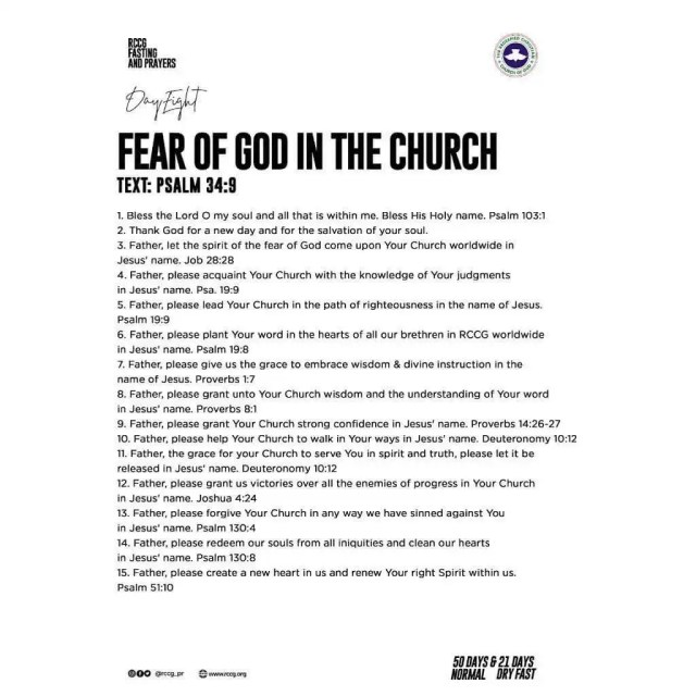 DAY 8: RCCG Year 2020 Fasting & Prayer Guide For January And February