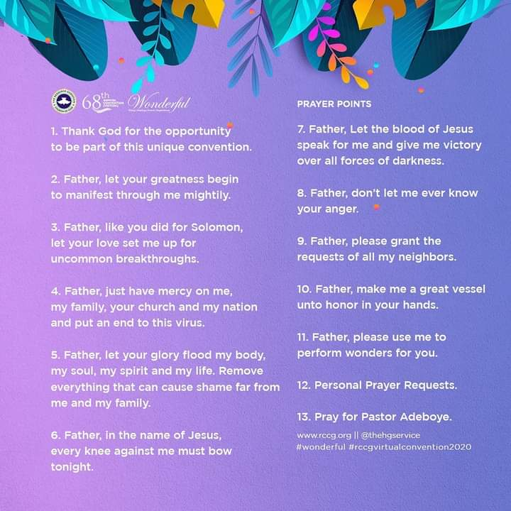 Prayer points from rccg holy ghost convention 2020