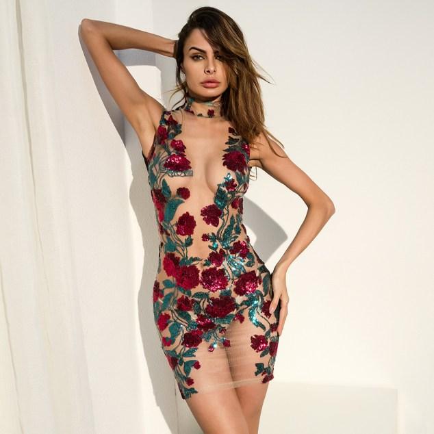 I Am Love Floral Sequin Dress