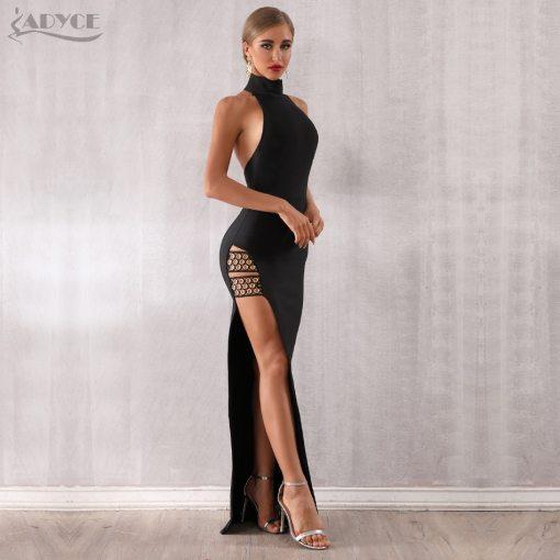 womens long slit halter neck dress in black