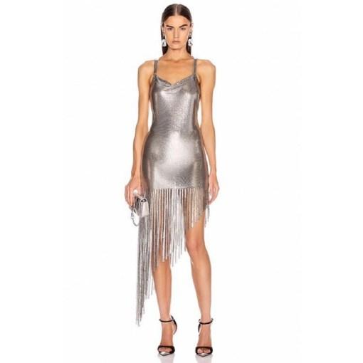 Disco Bunny Silver Metal Mesh Dress